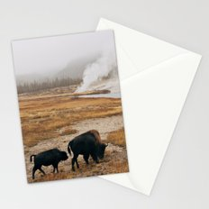 Mother Bison and Calf in Yellowstone National Park Stationery Cards