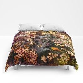 Orange Bird (Square) Comforters