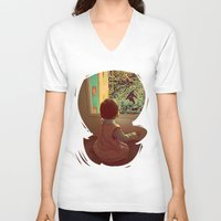bigfoot V-neck T-shirts featuring Hello Bigfoot! by Silvio Ledbetter