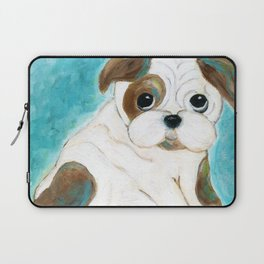 Bulldog Puppy Painting, Dog Painting, Kid's Room Decor, Dog Lover, Animal Art Laptop Sleeve
