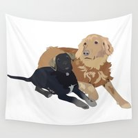 dogs Wall Tapestries featuring Dogs by Cheshire Giraffe