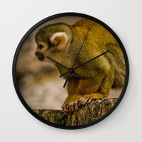 monkey island Wall Clocks featuring Little Monkey by Glory Baby Photography