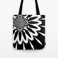 blankets Tote Bags featuring Black & White Modern Flower by 2sweet4words Designs