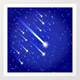 Space background with stars and comets Art Print