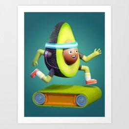Running Avocado Art Print