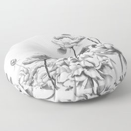 black and white peonies Floor Pillow