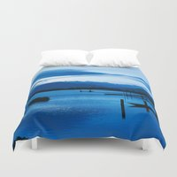 buddhism Duvet Covers featuring BLUE VIETNAMESE MEDITATION  by CAPTAINSILVA