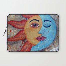 Soluna, Sun and Moon Mixed media Painting Laptop Sleeve