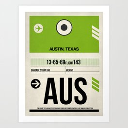 AUS Austin Luggage Tag 1 Art Print