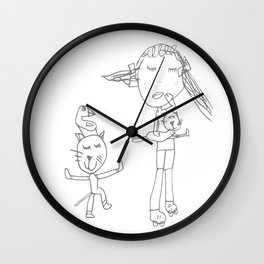 Girl and the tom cat Wall Clock