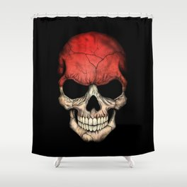 Dark Skull with Flag of Indonesia Shower Curtain