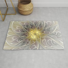 Flourish with Gold, Abstract Fractal Art Rug