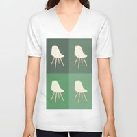 eames V-neck T-shirts featuring Eames x 4 #2 by bittersweat