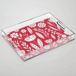 Blooming field - red Acrylic Tray