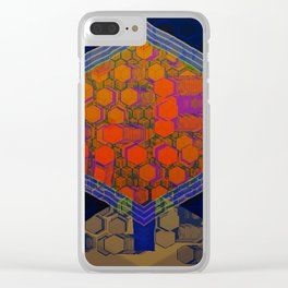 Bees Tree in the Smart City / Organic Hexagon Clear iPhone Case
