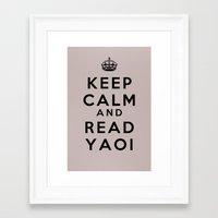 yaoi Framed Art Prints featuring Keep Calm and Read Yaoi by sambeawesome