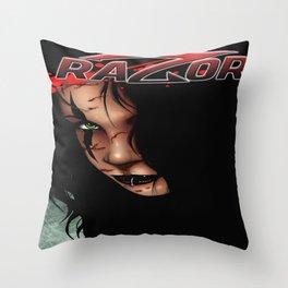 RAZOR face by Everette Hartsoe Throw Pillow