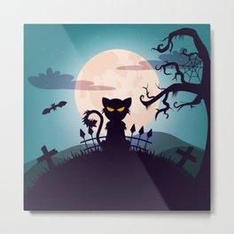 Cat in The Moon light Metal Print
