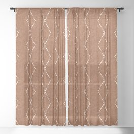 geometric diamonds - ginger Sheer Curtain