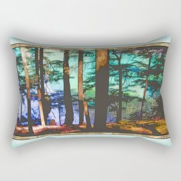 MOUNTAIN LAKE THROUGH HEMLOCK TREES Rectangular Pillow