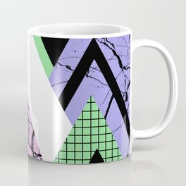 Textured Points - Marbled, pastel, black and white, paint splat textured geometric triangles Coffee Mug
