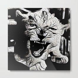 Angry Lion Cub Metal Print