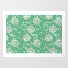 Mola Mola Green-Ocean sunfish Art Print