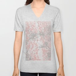 Modern blush pink gray stylish marble Unisex V-Neck