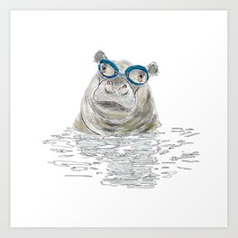 Hippo with swimming goggles Art Print