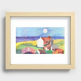 Seaside Village in Abstract Recessed Framed Print
