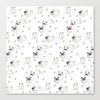 pugs Canvas Prints featuring Pugs by Alisse Ferrari