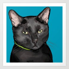 Black Cat Portrait Art Print