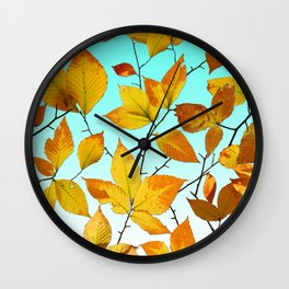 Autumn Leaves Azure Sky Wall Clock
