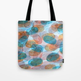 Orange Blue Red Ovals Tote Bag