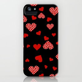Valentines Hearts black iPhone Case