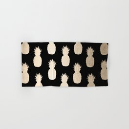 Gold Pineapples Pattern Black Hand & Bath Towel