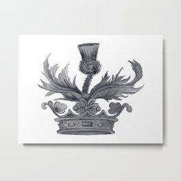 Watercolor Outlander Crown & Thistle Metal Print
