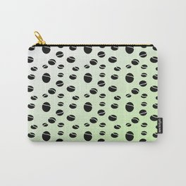 Black balls in a green white background Carry-All Pouch