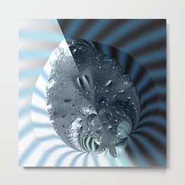 Metallic shine on a yin yang type fractal form Metal Print