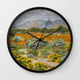 California Poppies and Wildflowers Wall Clock