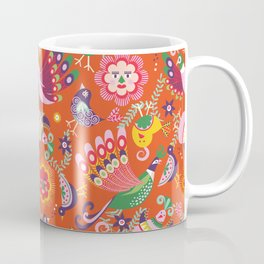 Scandinavian folkart birdies | orange Coffee Mug