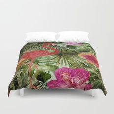 Tropical Vintage Exotic Jungle- Floral and Flamingo watercolor pattern on #Society6 Duvet Cover