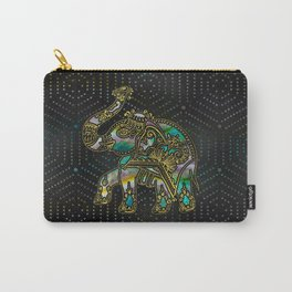 Gold Framed Elephant on Colorful Abalone decor Carry-All Pouch
