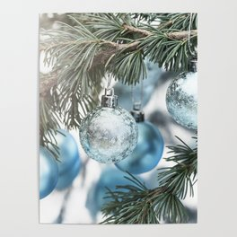 Blue Christmas baubles on tree Poster