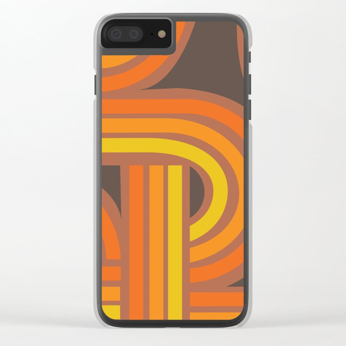 70's Orange Funky Clear iPhone Case