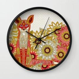 garden fox linen Wall Clock