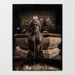Night image of the fountain detail of Piazza Vecchia. Poster