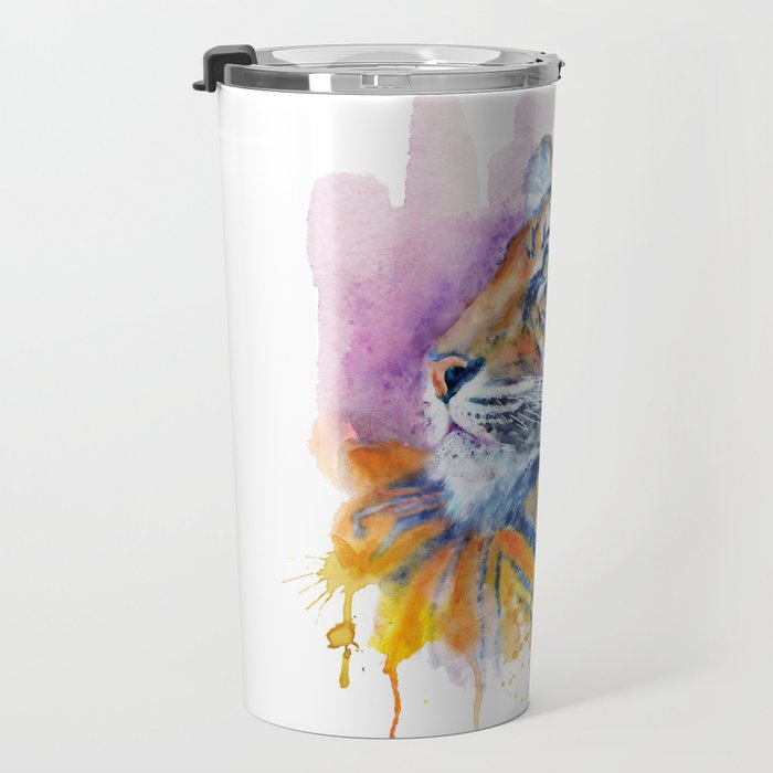Young Tiger Watercolor Portrait Travel Mug