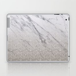 Beige glitter gradient on marble Laptop & iPad Skin