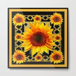Italian Style Art Deco Golden Sunflower Art Metal Print